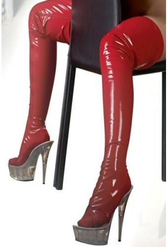 Bas avec pied en vinyl rouge