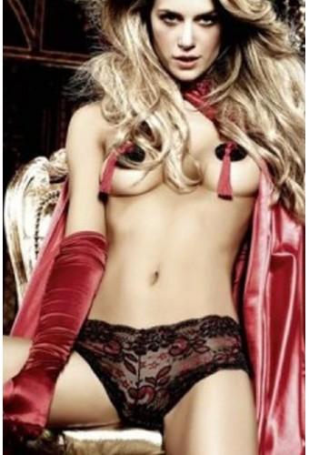 Shorty sexy en dentelle noire et rouge