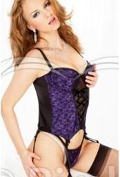 Ensemble guêpière et  string noir et violet