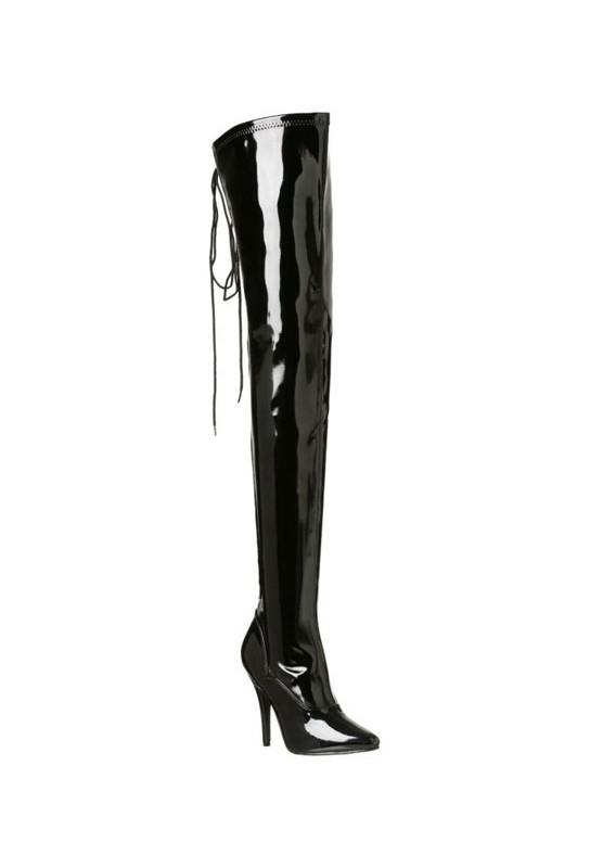 Cuissardes noires vernies à lacet seduce-3063
