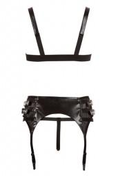 Ensemble porte-jarretelle et soutien-gorge imitation cuir