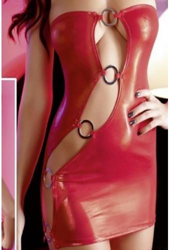 Robe courte rouge à boucles métalliques