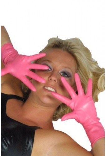 Gants courts en latex rose