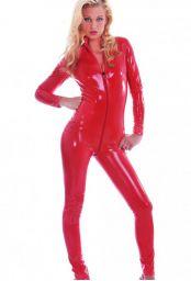 Catsuit intégrale en vinyle rouge