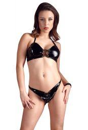 Ensemble lingerie féminine en vinyle noir