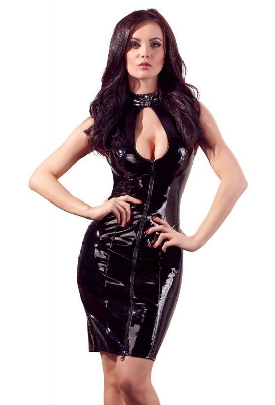 Robe sexy à lacet en vinyle noir