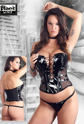 Bustier sexy en vinyle noir à lacet