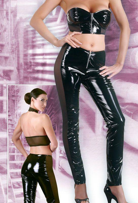 Tenue vinyle noire pantalon et top sexy