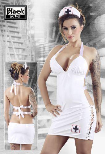 Tenue sexy robe d'infirmière en vinyle blanc