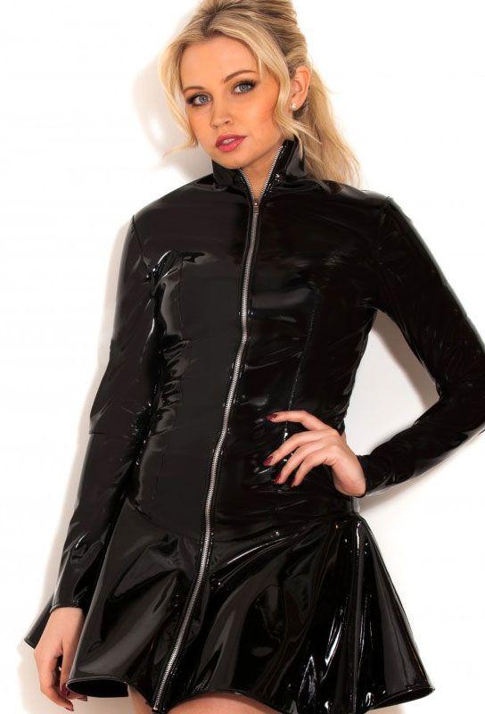 robe veste vinyle noire