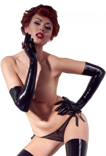 Long gants noir en latex