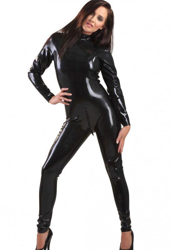 Catsuit femme en latex noir