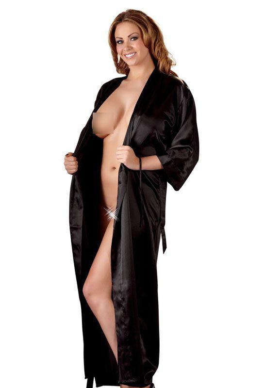 Kimono en satin noir
