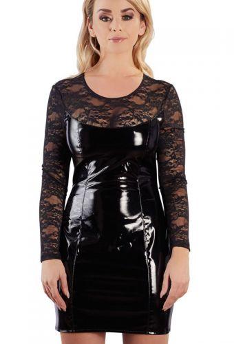 Robe vinyle et dentelle noire
