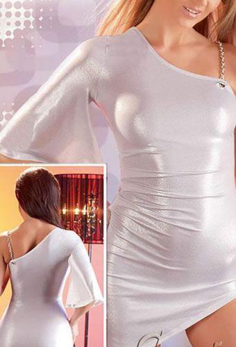 Robe courte asymétrique argentée