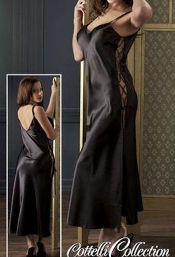 Négligé long à lacet coloris noir