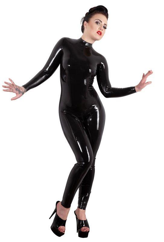 Catsuit femme latex noir