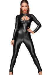Catsuit wetlook noir