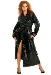 Manteau long vinyle noir