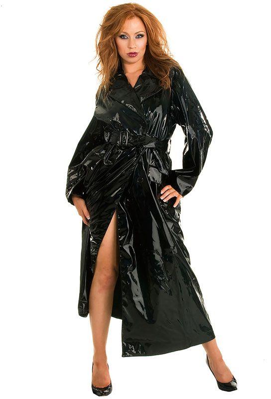 Manteau femme vinyle noir