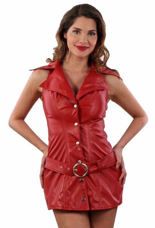Robe simili cuir rouge